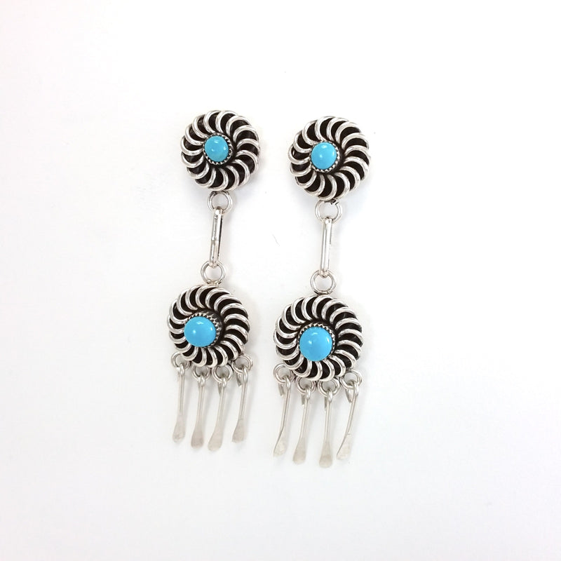 Al Lementino Zuni turquoise sterling silver earrings.