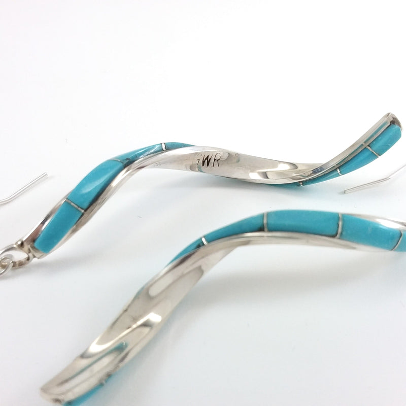 Gloria Waseta Zuni turquoise sterling silver twist earrings.