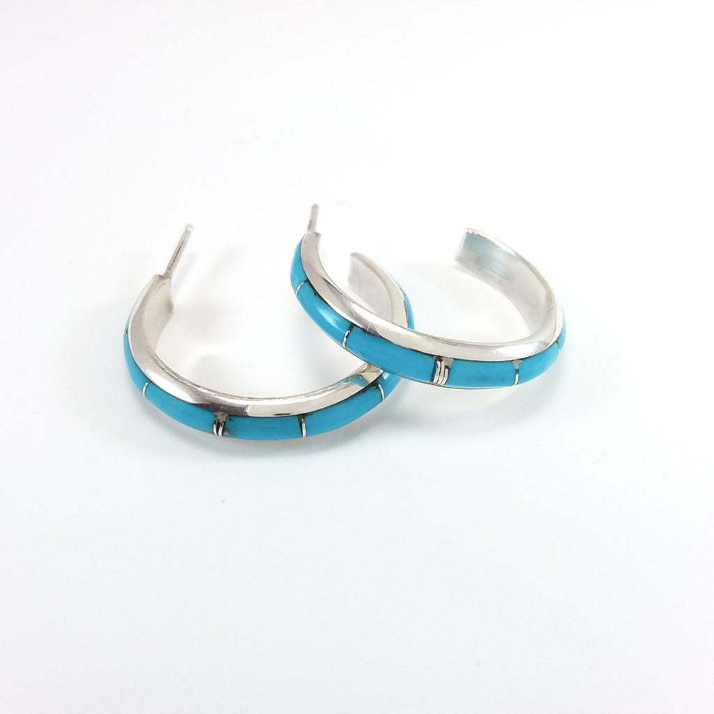 J.C. Chico Zuni turquoise sterling silver hoop earrings.