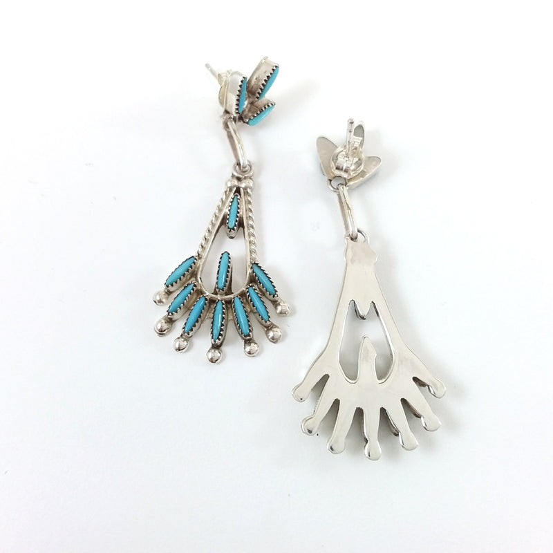 Zuni turquoise sterling silver needlepoint earrings.