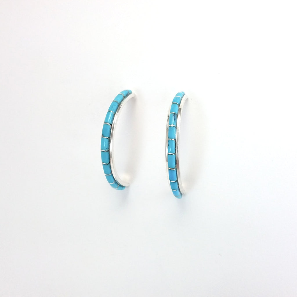 Zuni turquoise sterling silver inlay hoop earrings.