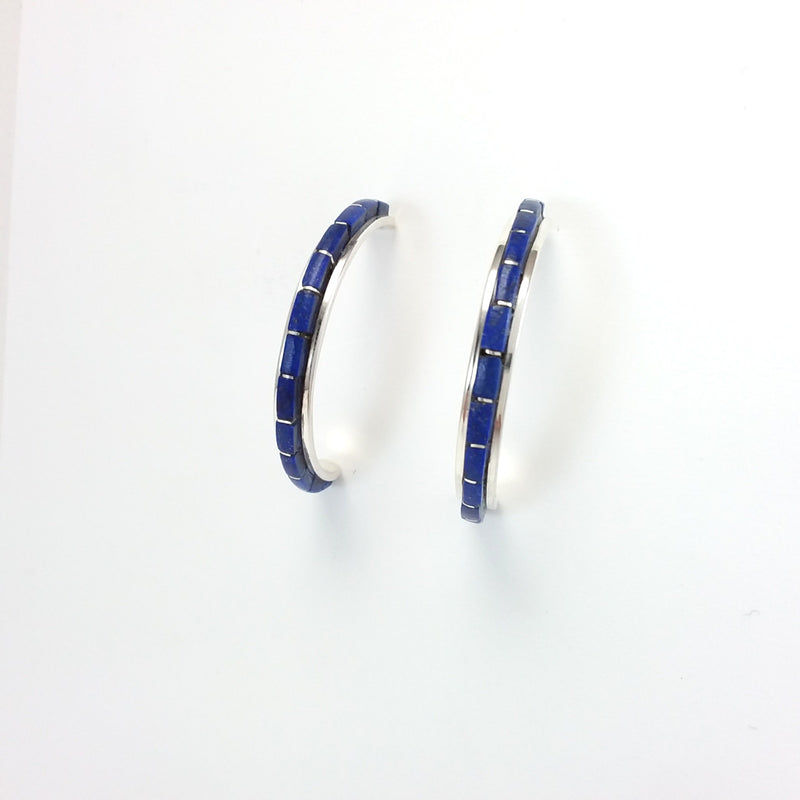 Zuni lapis sterling silver inlay hoop earrings.