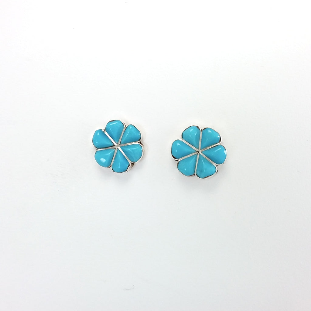 Zuni turquoise sterling silver inlay earrings.