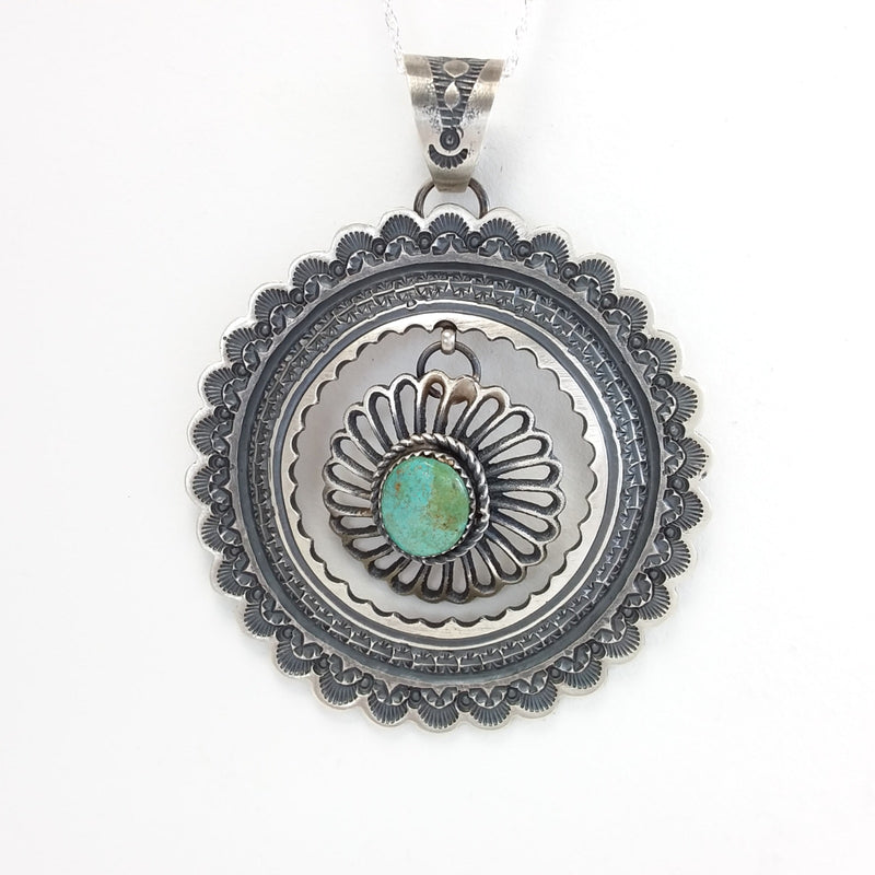 Kevin Billah Navajo turquoise sterling silver pendant.