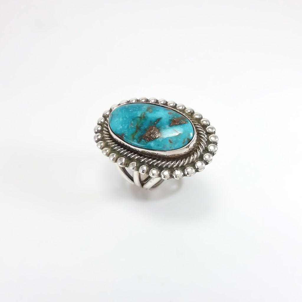 Rick Martinez Navajo turquoise sterling silver ring. Native American, Indian, Handmade Jewelry 7.5