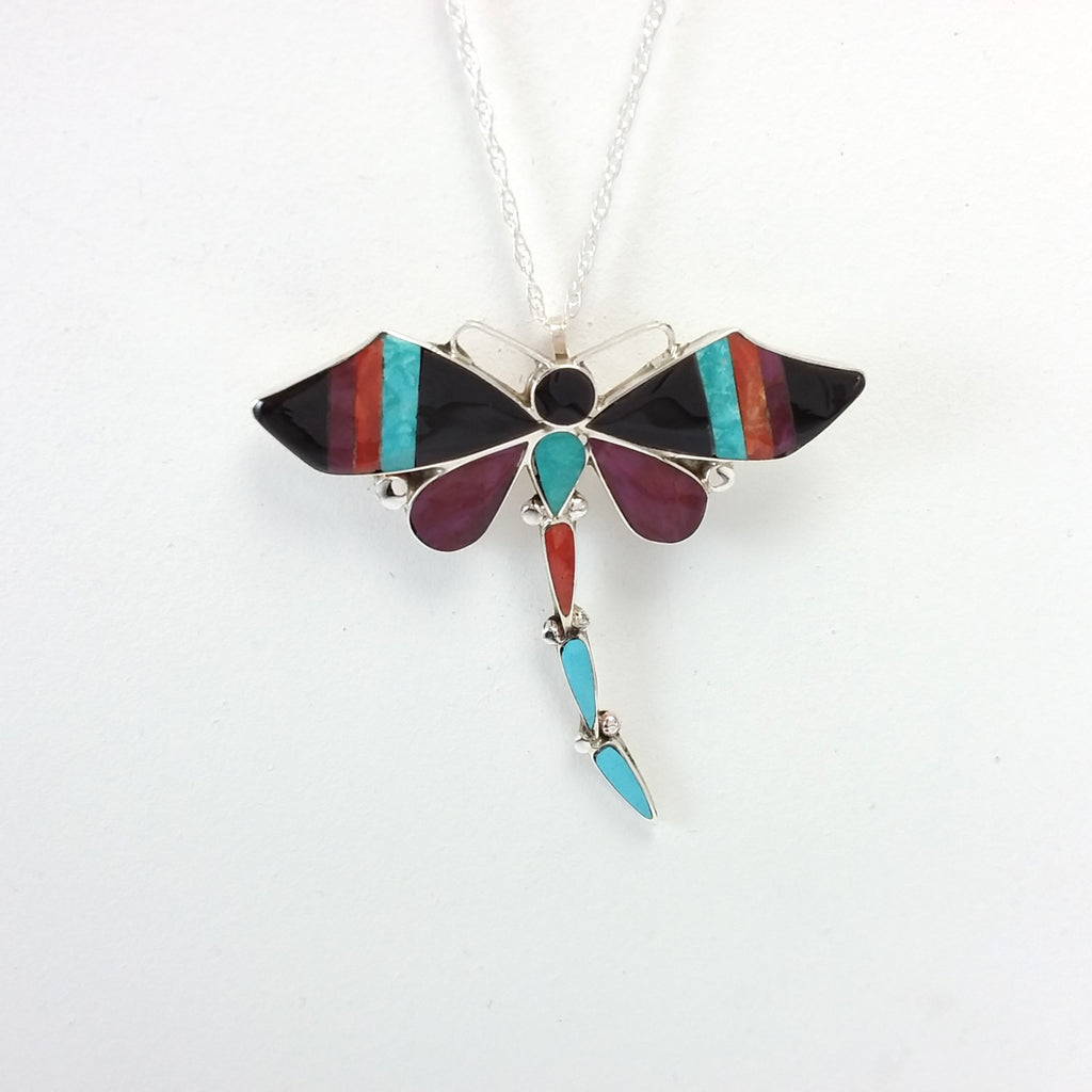 Angus Ahiyite Zuni multi stone sterling silver dragonfly pin/pendant. Inlaid, Native American Indian Jewelry