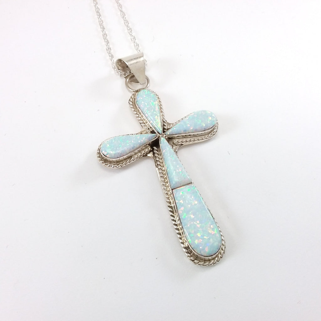 Victor Thompson opal sterling silver cross pendant.