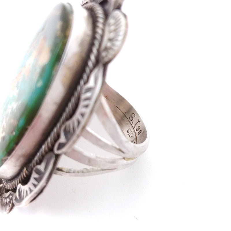Sheila Tso Navajo green turquoise sterling silver ring.
