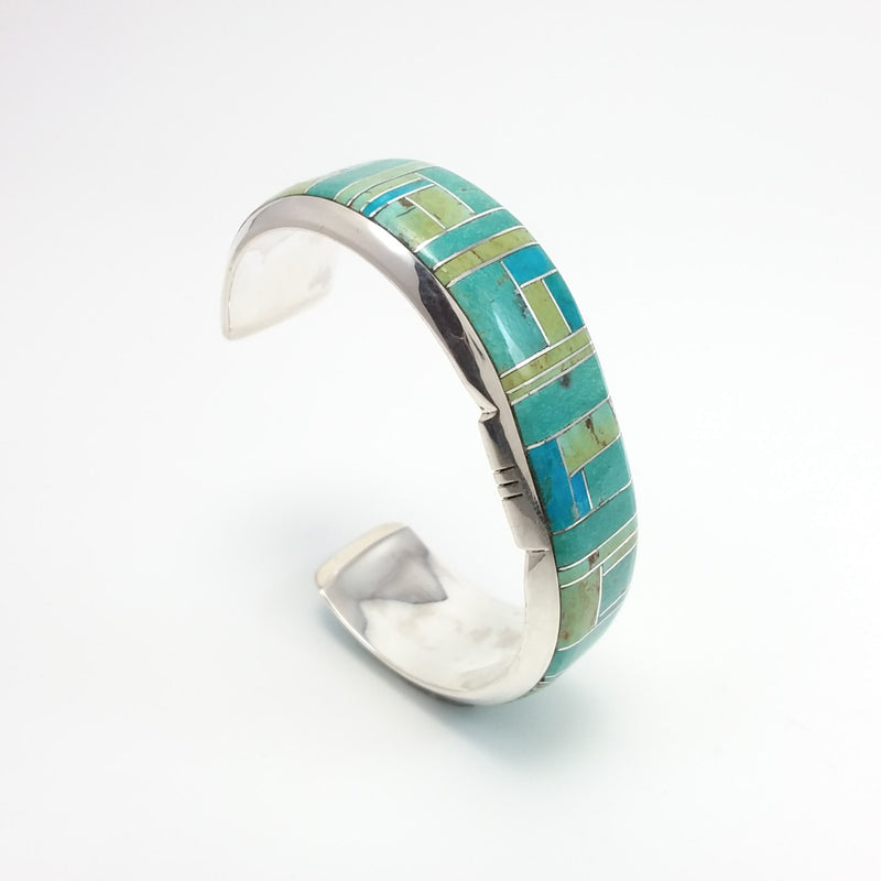 Green and Blue Turquoise and Sterling Silver Cuff, Native American Handcrafted Marilyn Yazzie , Navajo
