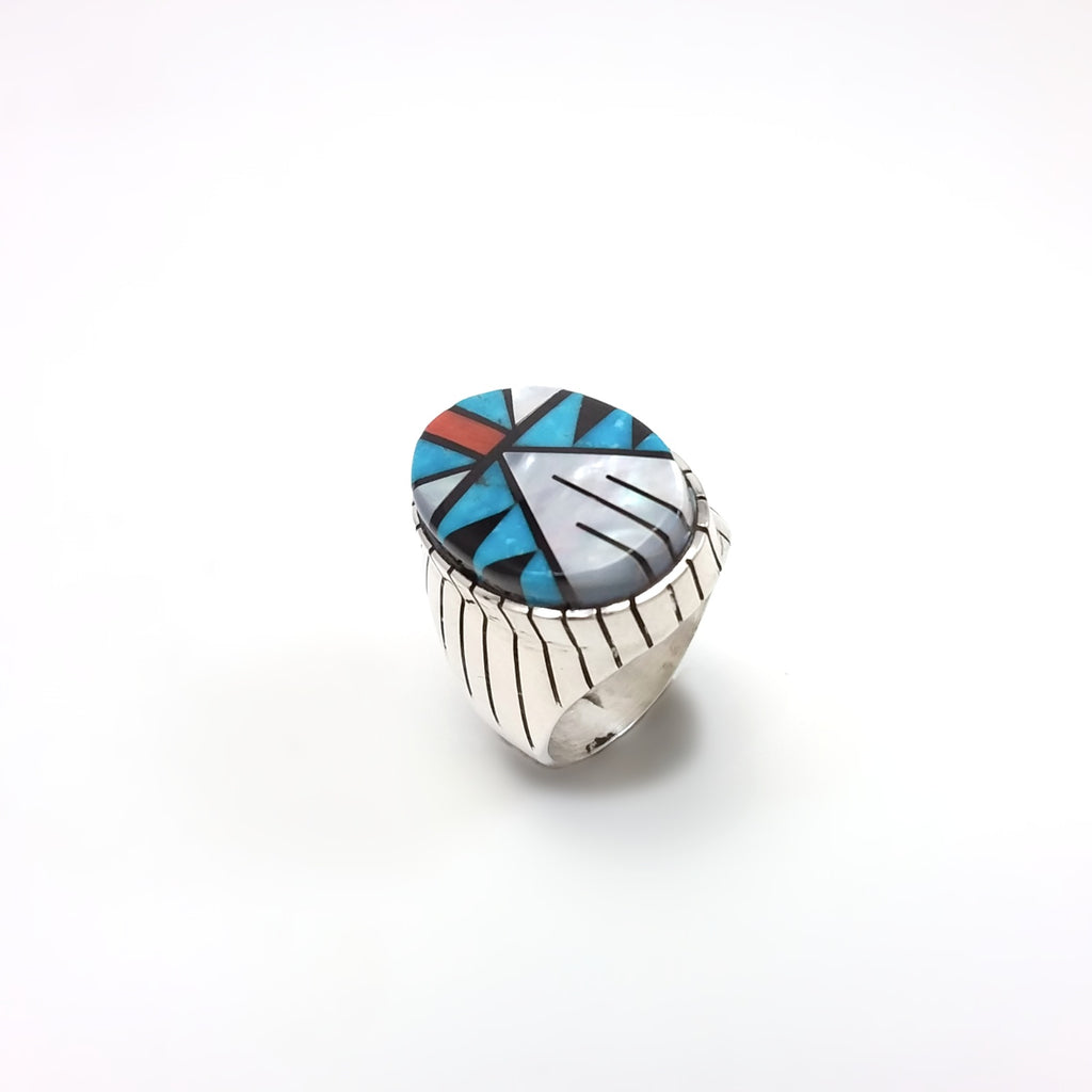Ray Jack Zuni multi stone sterling silver inlay ring.
