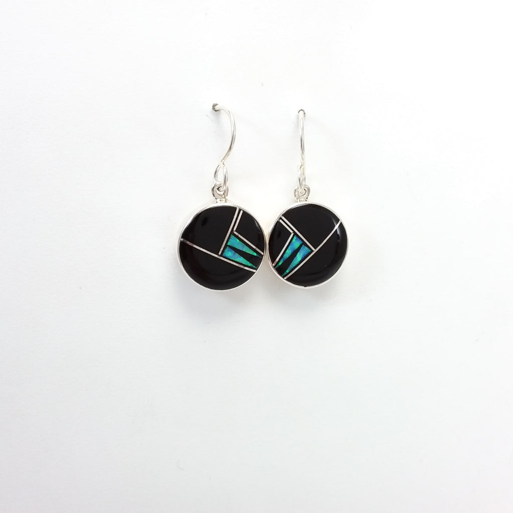 Sheryl Martinez jet, opal sterling silver inlay earrings.
