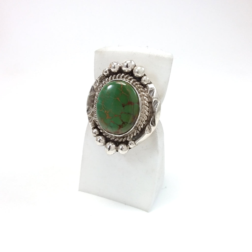 Evelyn Platero Navajo turquoise sterling silver ring.