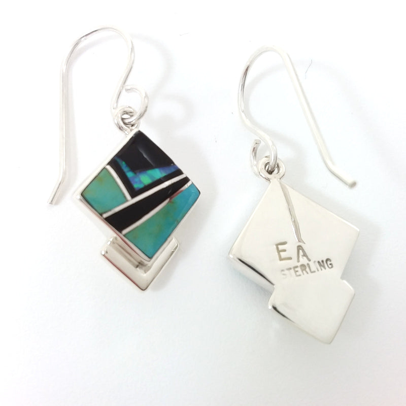 Elsie Armstrong turquoise, jet and opal sterling silver inlay earrings.