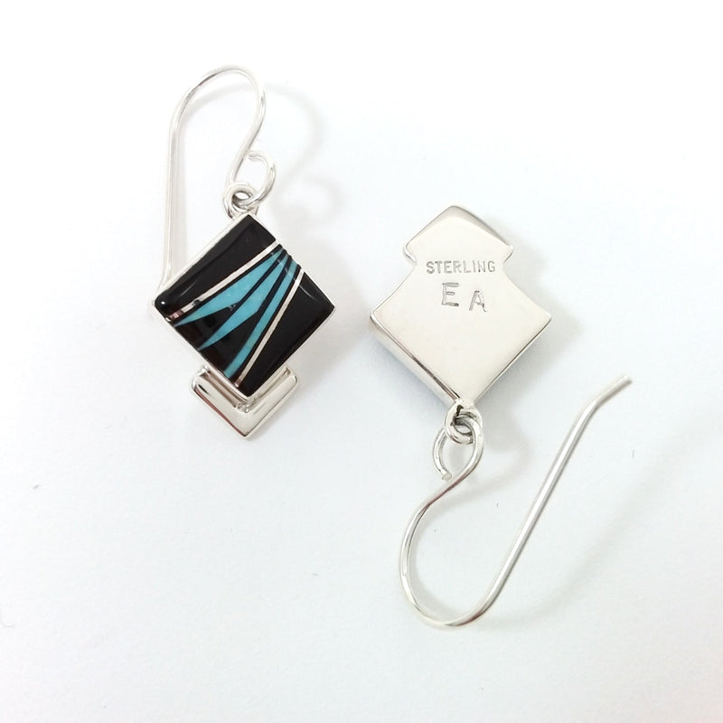 Navajo Elsie Armstrong turquoise and onyx sterling silver inlay earrings.