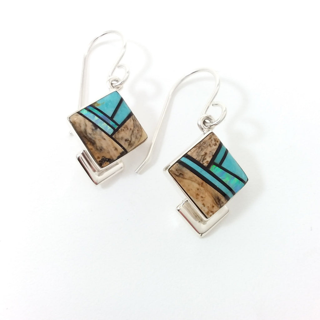 Navajo Elsie Armstrong opal picture jasper and jet sterling silver inlay earrings.