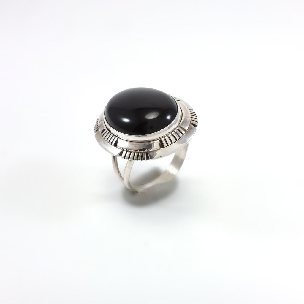 Scott Skeets Navajo onyx sterling silver ring.
