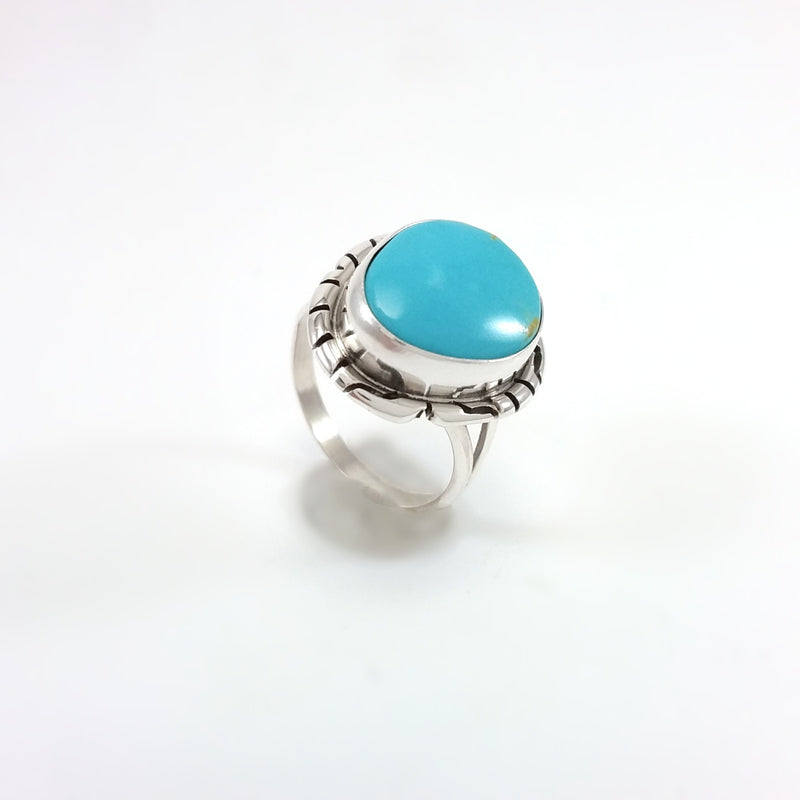Peggy Skeets Navajo turquoise sterling silver ring.