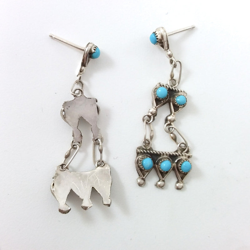 Zuni Waylon Johnson turquoise sterling silver earrings.