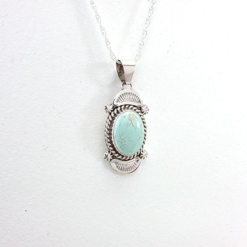 Ella Linkin Dry Creek turquoise sterling silver pendant.
