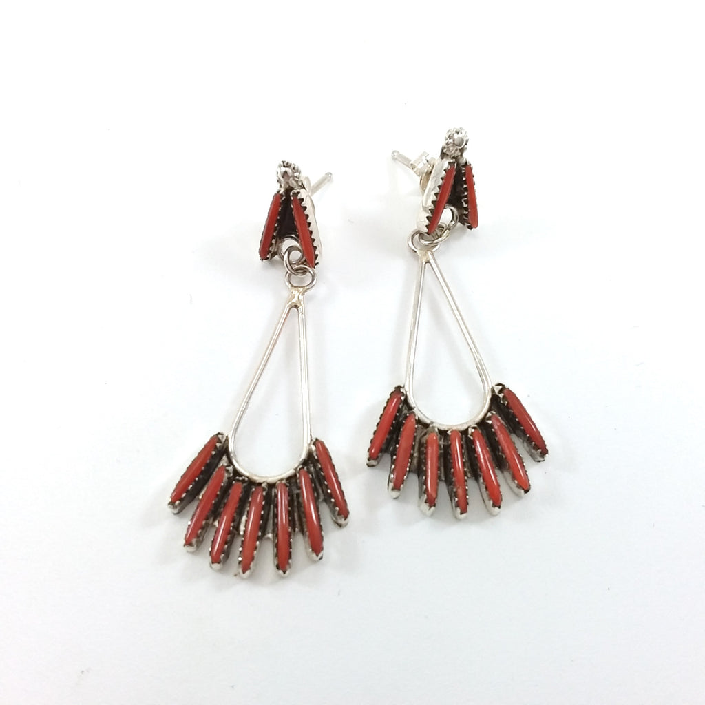 Zuni Jeannie Lastivano coral needle point sterling silver earrings.