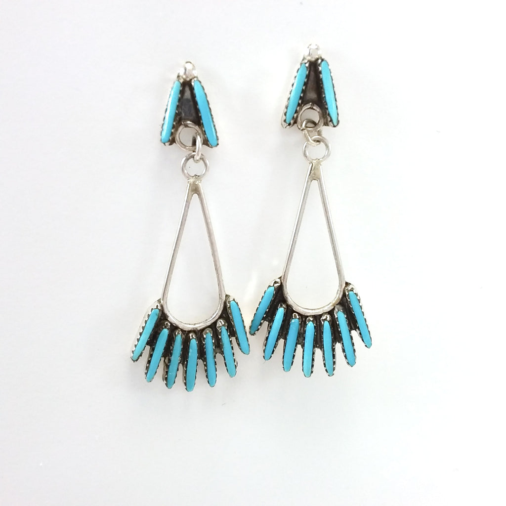 Zuni Jeannie Lastivano turquoise needle point sterling silver earrings.