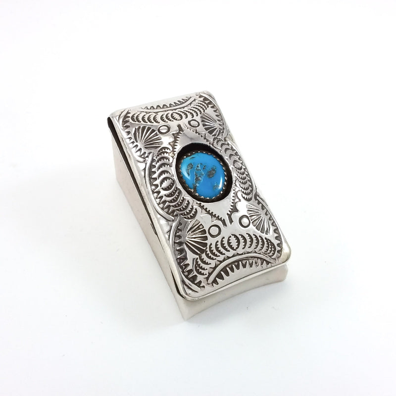 Shirley Skeets Turquoise/Silver Stamp Money Clip