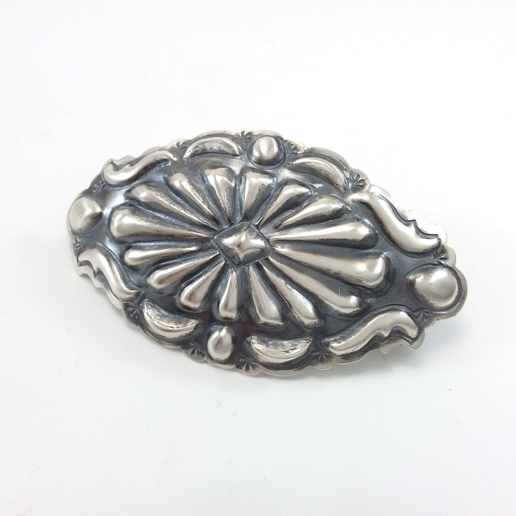 Tim Yazzie Navajo sterling silver repousse hair clip.