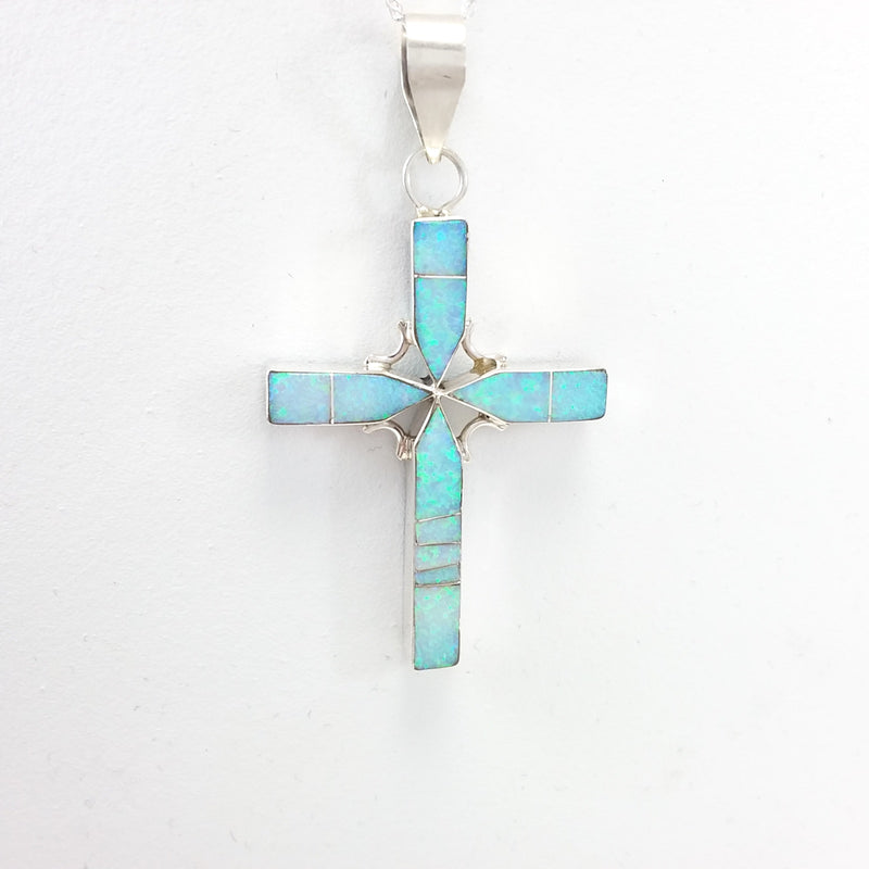 Edison Yazzie Navajo turquoise, lapis and opal sterling silver reversible cross pendant.