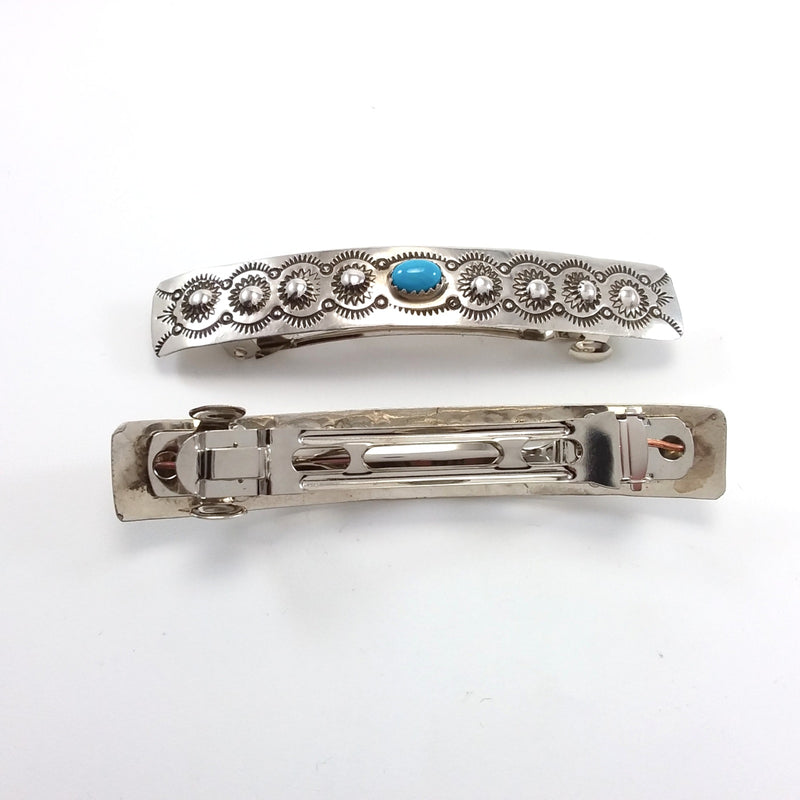 Jannie Blackgoat turquoise sterlking silver hair clips.