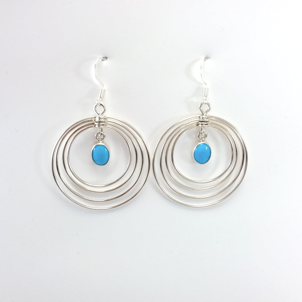 Navajo Edith Kee turqioise sterling silver earrings.