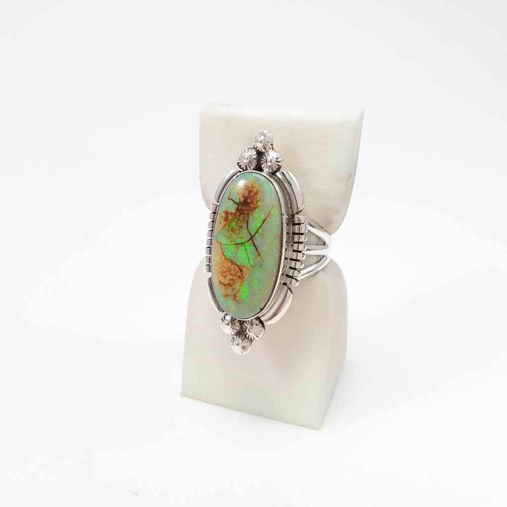 Marie Bahe Navajo opal sterling silver ring, Native American, Indian Jewelry