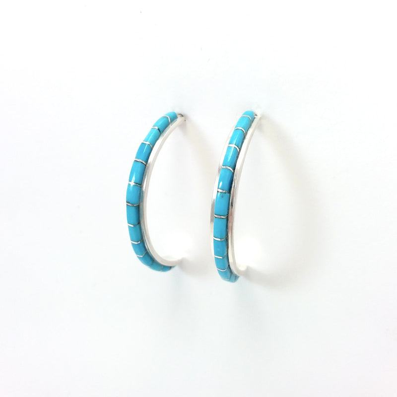 Zuni Susanna Kallestewa turquoise sterling silver inlay hoop earrings.