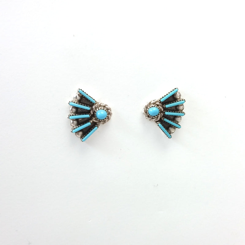 Zuni Darren Kaamasee turquoise needle point sterling silver earrings.