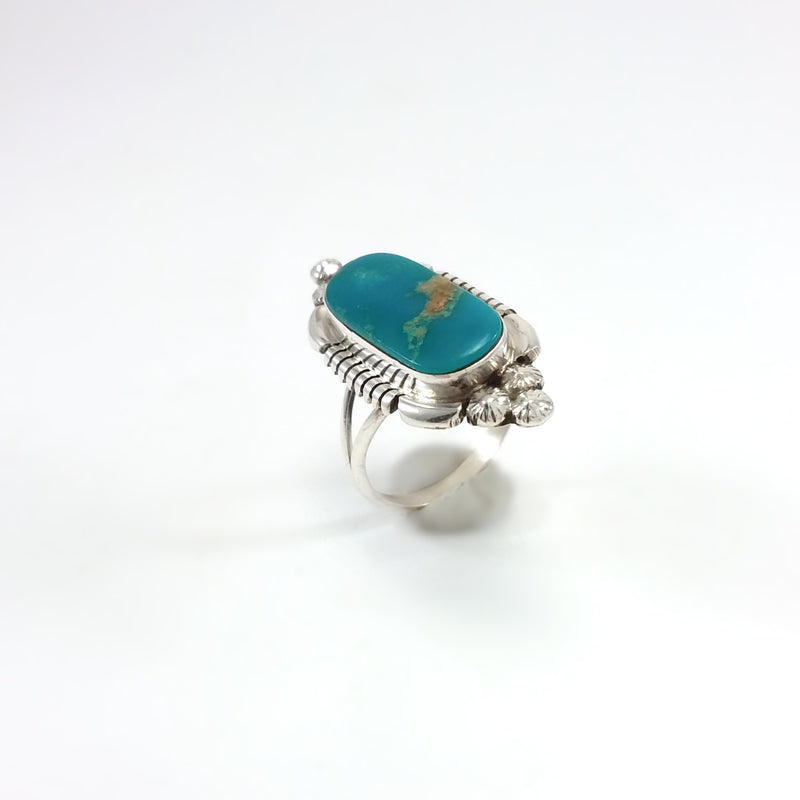 Marie Bahe Navajo turquoise sterling silver ring. Small Turquoise Ring, Indian Southwest Native American Jewelry
