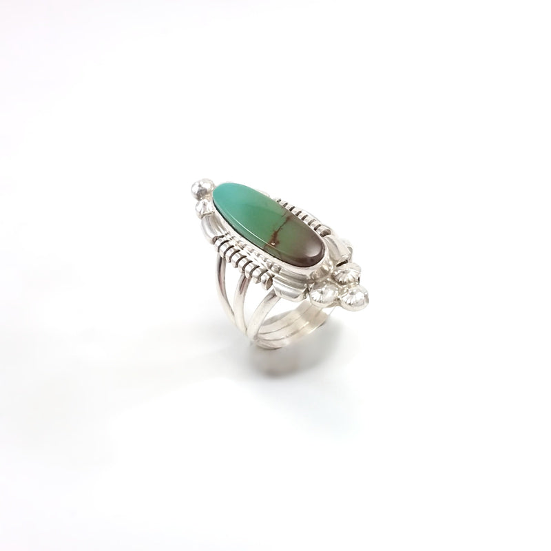 Marie Bahe Navajo green turquoise sterling silver ring, Native American Indian Navajo Jewelry