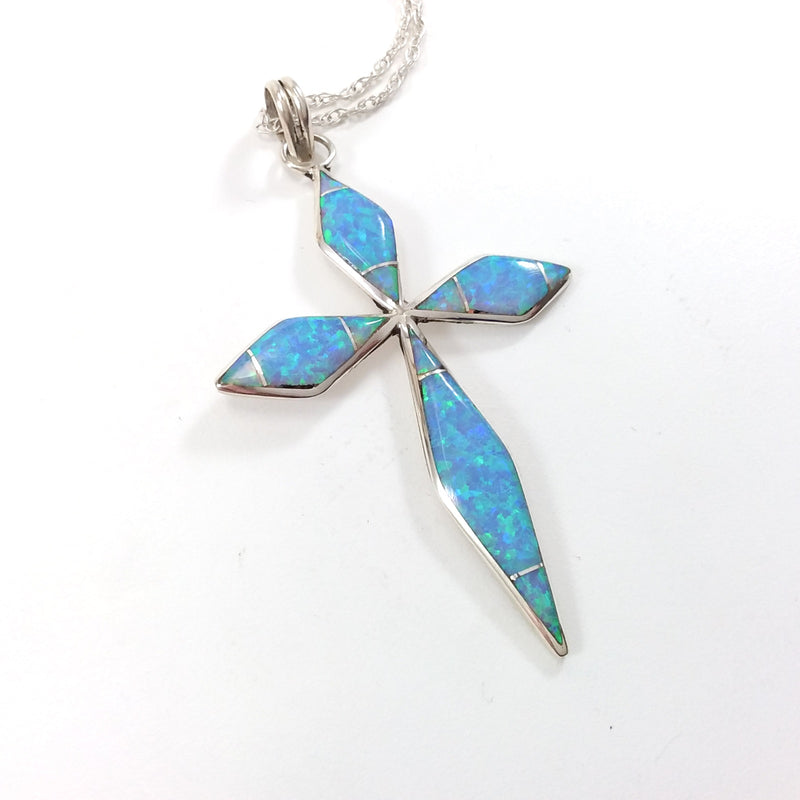 James Kee Zuni Pueblo opal sterling silver inlay cross pendant.