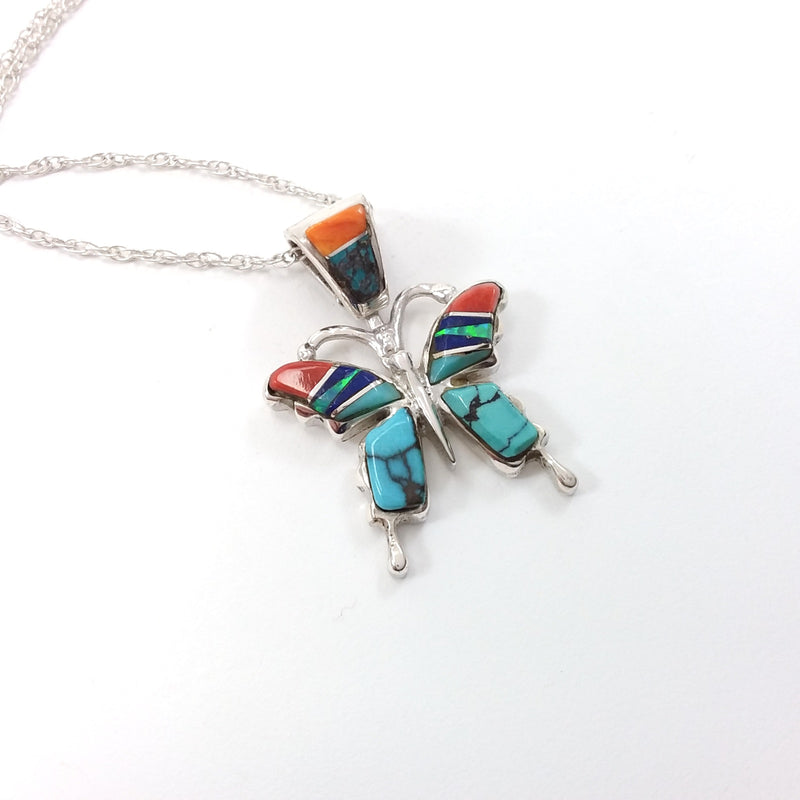 Pricella Smith Navajo turquoise, spiny oyster and lapis sterling silver pendant.