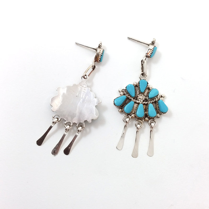 Zuni Florine Beyuka turquoise sterling silver earrings.