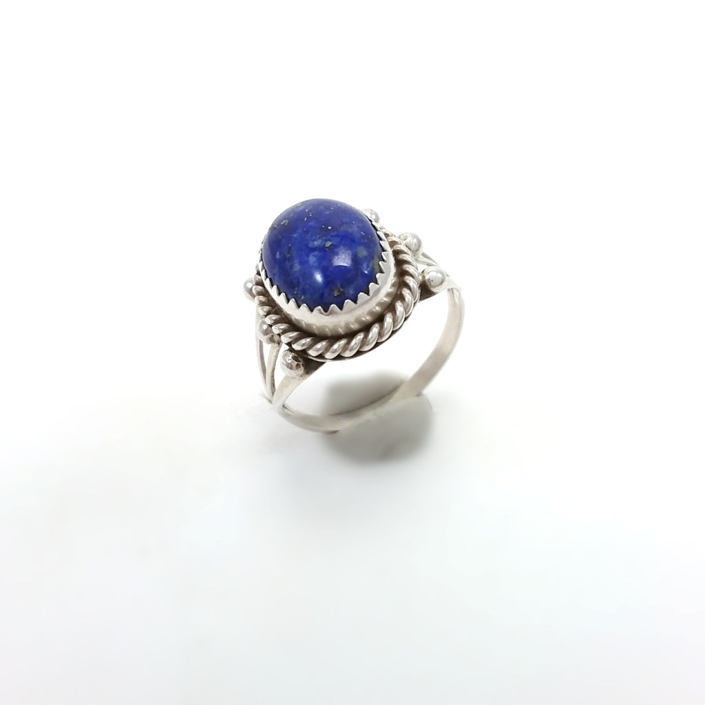 Navajo lapis sterling silver ring. Native American Indian Jewelry, Small Lapis