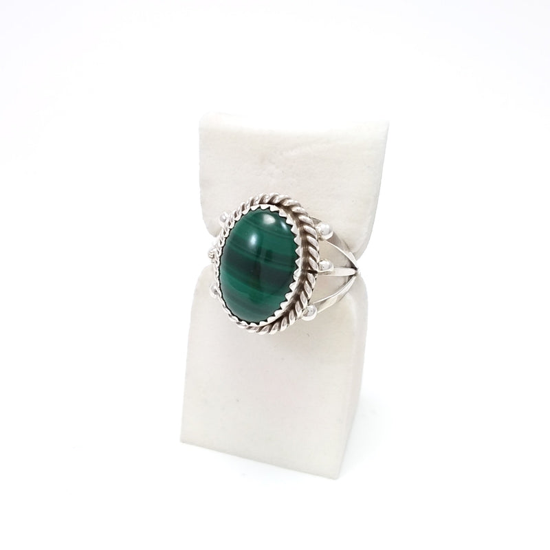 Navajo malachite sterling silver ring.