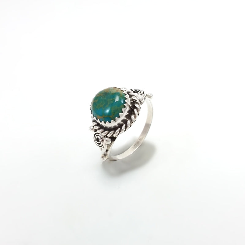 Freda Martinez Navajo green turquoise sterling silver ring. Native American Indian Jewelry size 7