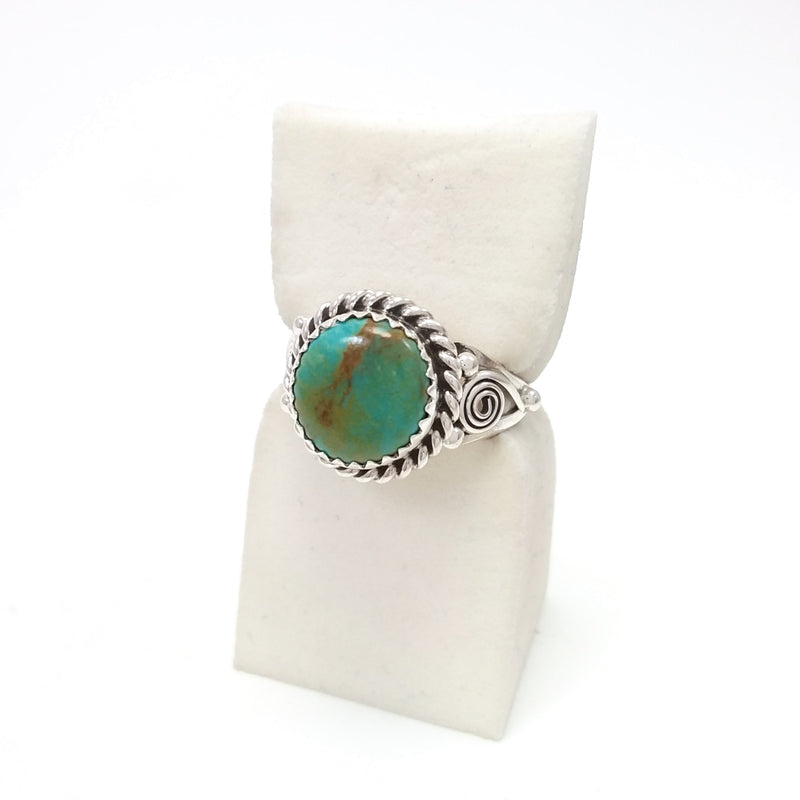 Freda Martinez Navajo turquoise sterling silver ring. Native American Indian Jewlery 7.25
