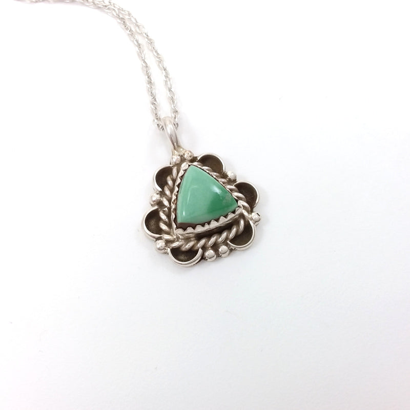 Ben Martinez green turquoise sterling silver pendant.