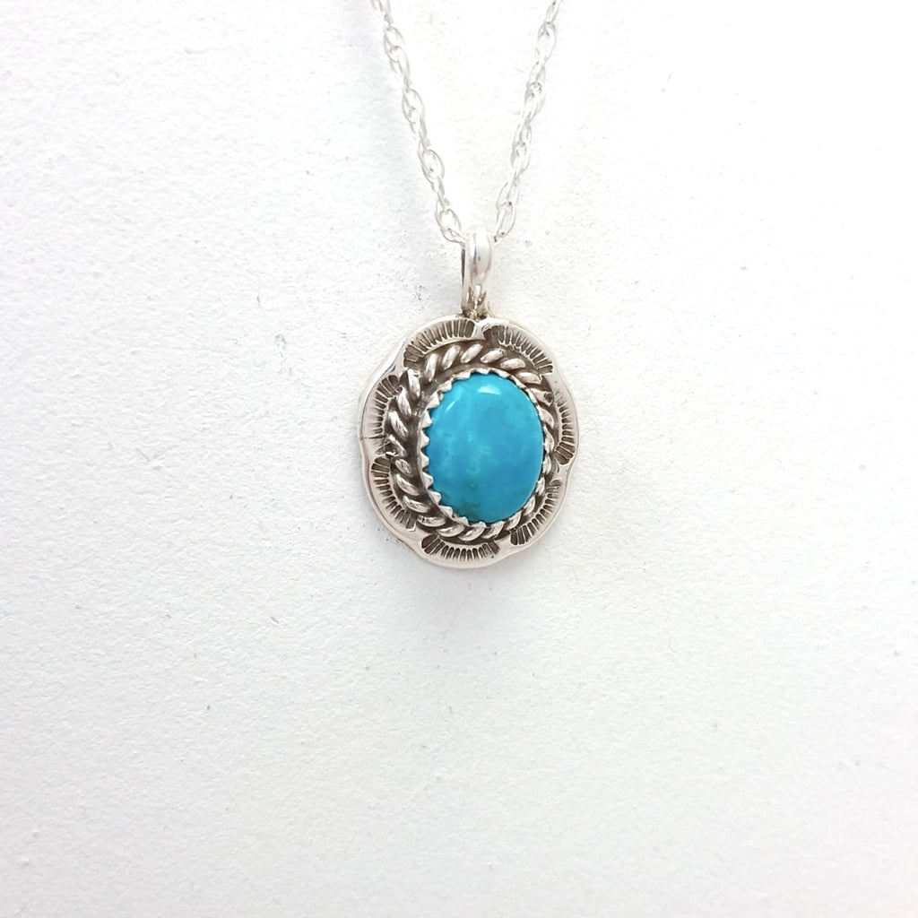 Freda Martinez turquoise sterling silver pendant.