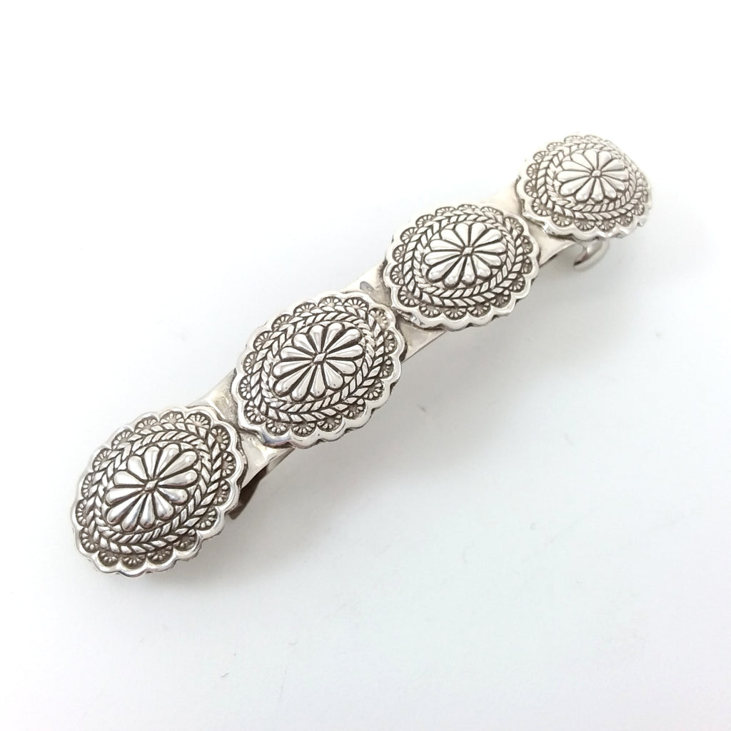 Navajo sterling silver stamped hair clip.
