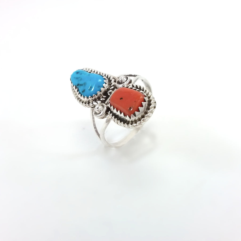Coral and Turquoise Navajo Southwest Native American Ring size 9.5 under 50 dollars Indian Jewelry