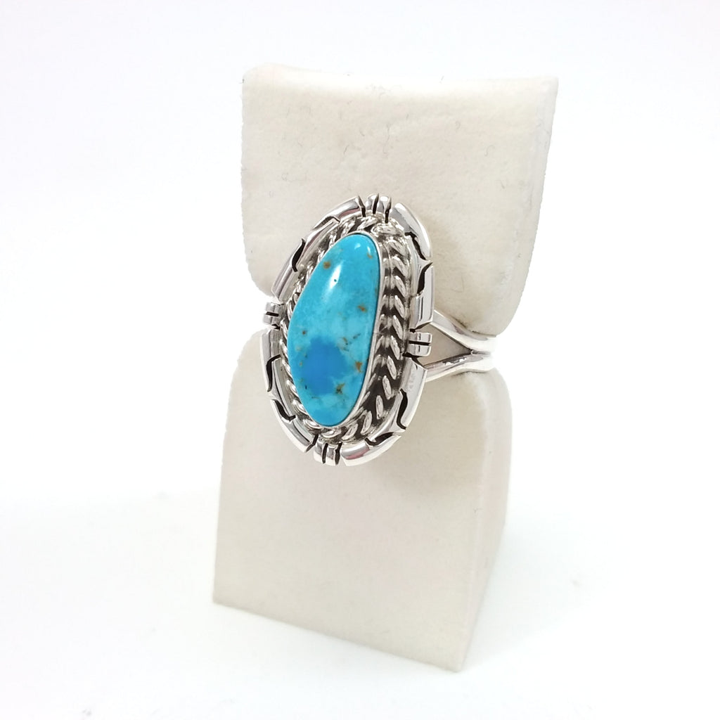 Davey Skeets Navajo Ring, Sterling Silver, Turquoise Ring, Under 50, Gift for her Size 8.5