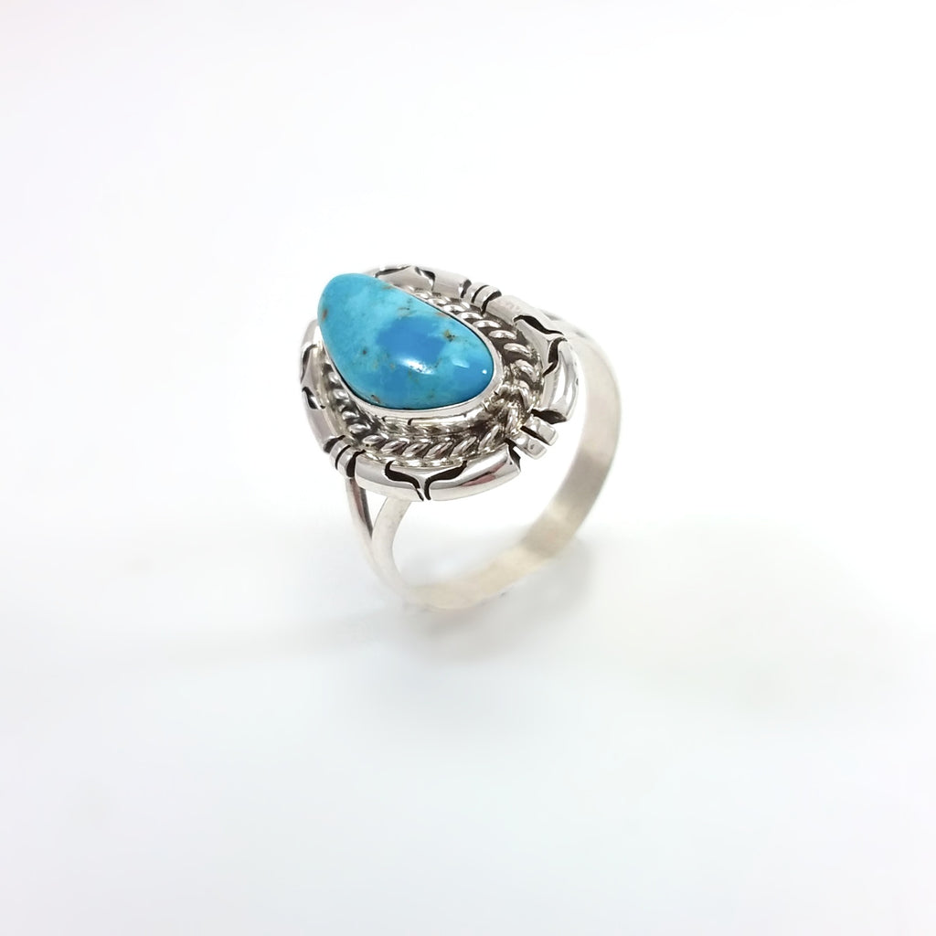 Ring, Sterling Silver, Turquoise Ring, Under 50, Gift for her Size 8.5