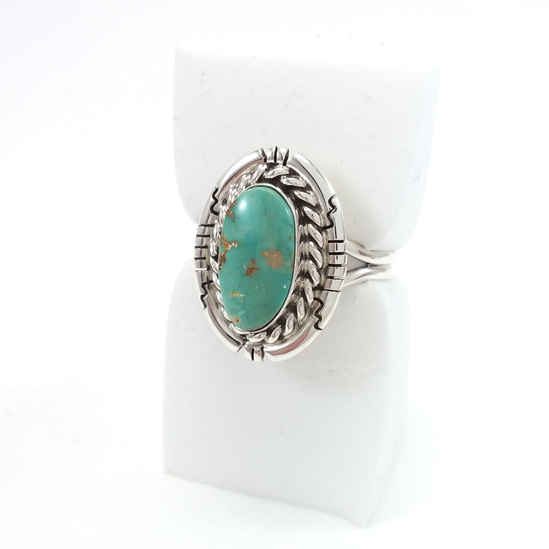 Davey Skeets Size 9.5 Green Turquoise Sterling Silver Ring, Native American Indian Jewelry