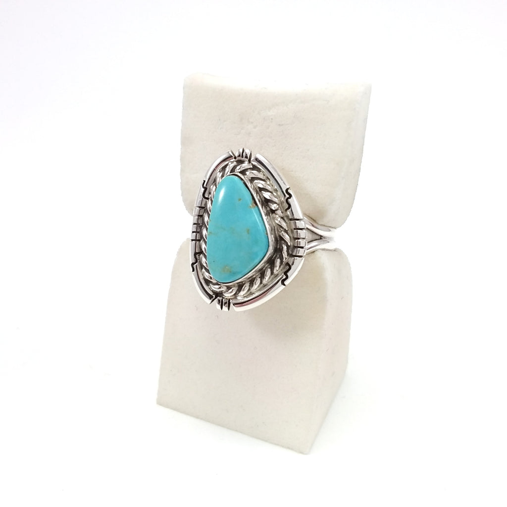 Native American Navajo Indian Jewelry, Davey Skeets Navajo Ring, Sterling Silver, Turquoise Ring, Under 50, Gift for her Size 8.5